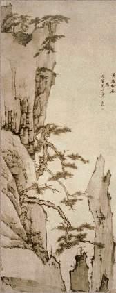 弘仁作品赏析:黄海松石图