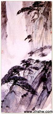 国画大师傅抱石作品赏析:《松林策杖》