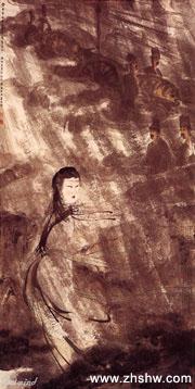国画大师傅抱石作品赏析:《�L雨牧�w》