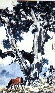 徐悲鸿作品:大树双马